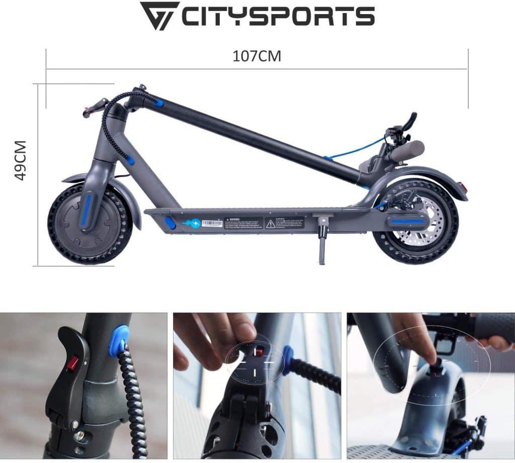 """CITYSPORTS Trottinette Electrique 8,5"""""""