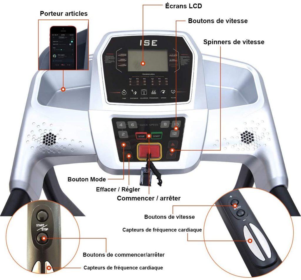 Les caractéristiques du Tapis de course ISE électrique Pliable motorisé