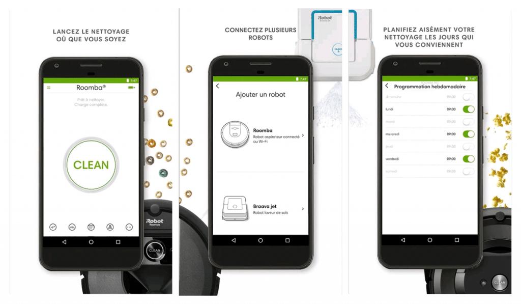 Quelles sont les différentes fonctionnalités de l'application iRobot Home ?